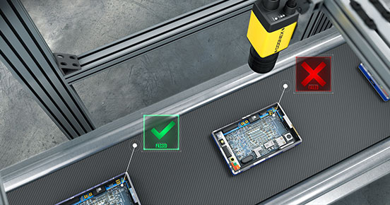 Consumer Electronics production line Cognex insight inspection pass fail