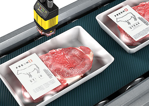 Cognex Dataman label print quality inspection for packaged steak on conveyor belt