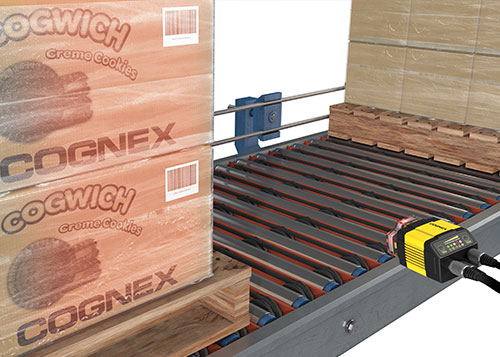 Up close Cognex dataman system multiple barcode reading pallet scanning