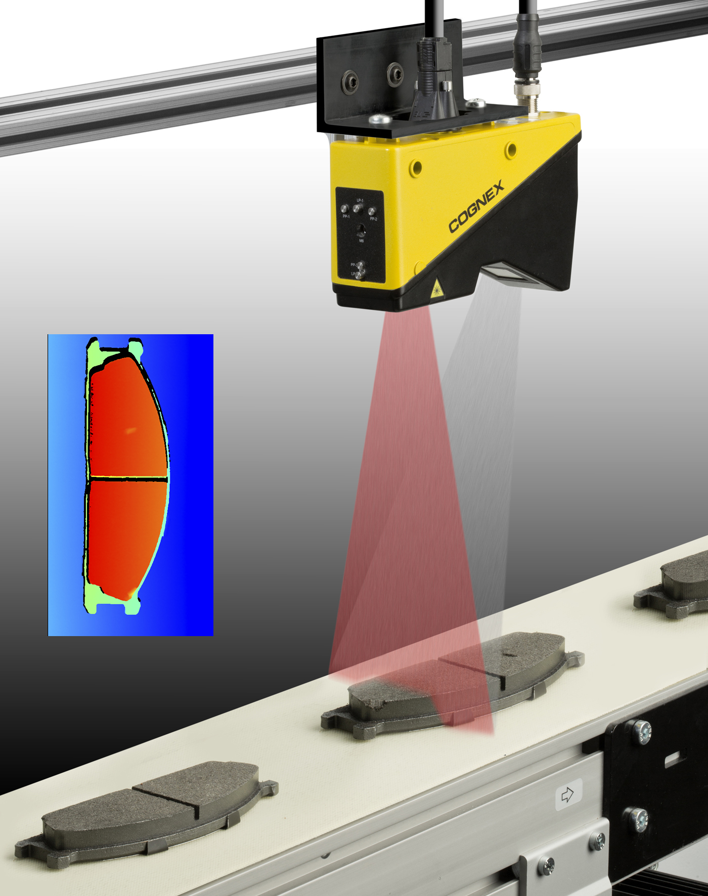 DS1000 laser profiler scanning moving brake pads for 3D dimension data