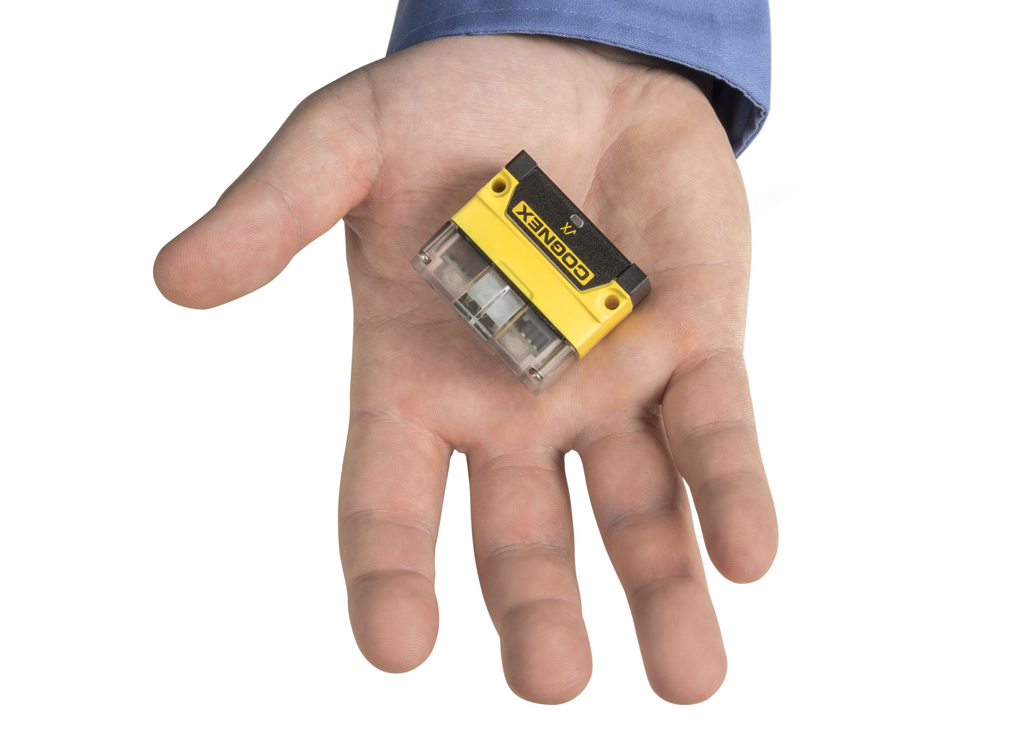 Guy with cognex dataman dm70 barcode reader in palm of hand