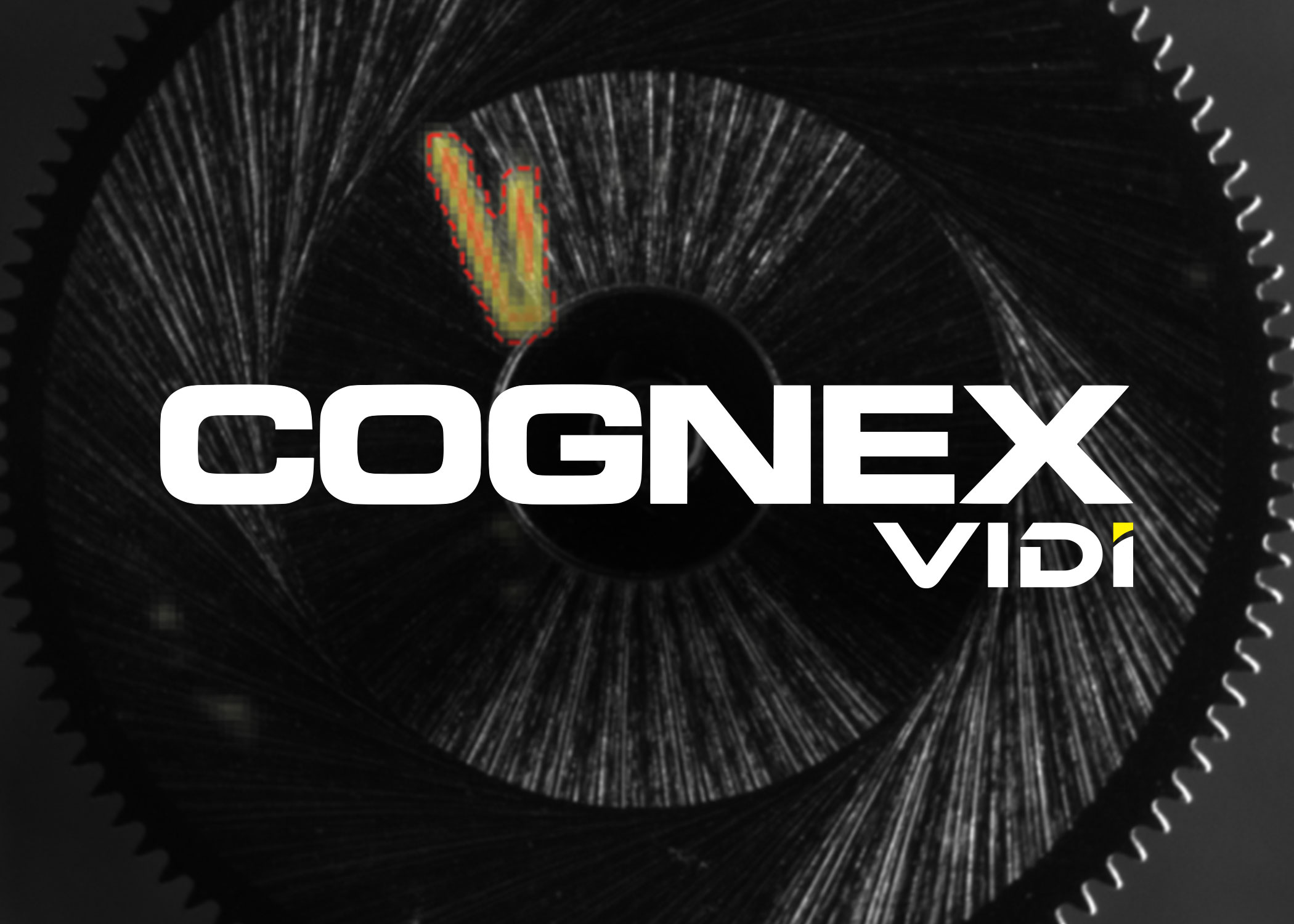 cognex vidi logo on black image with heat map identified defect