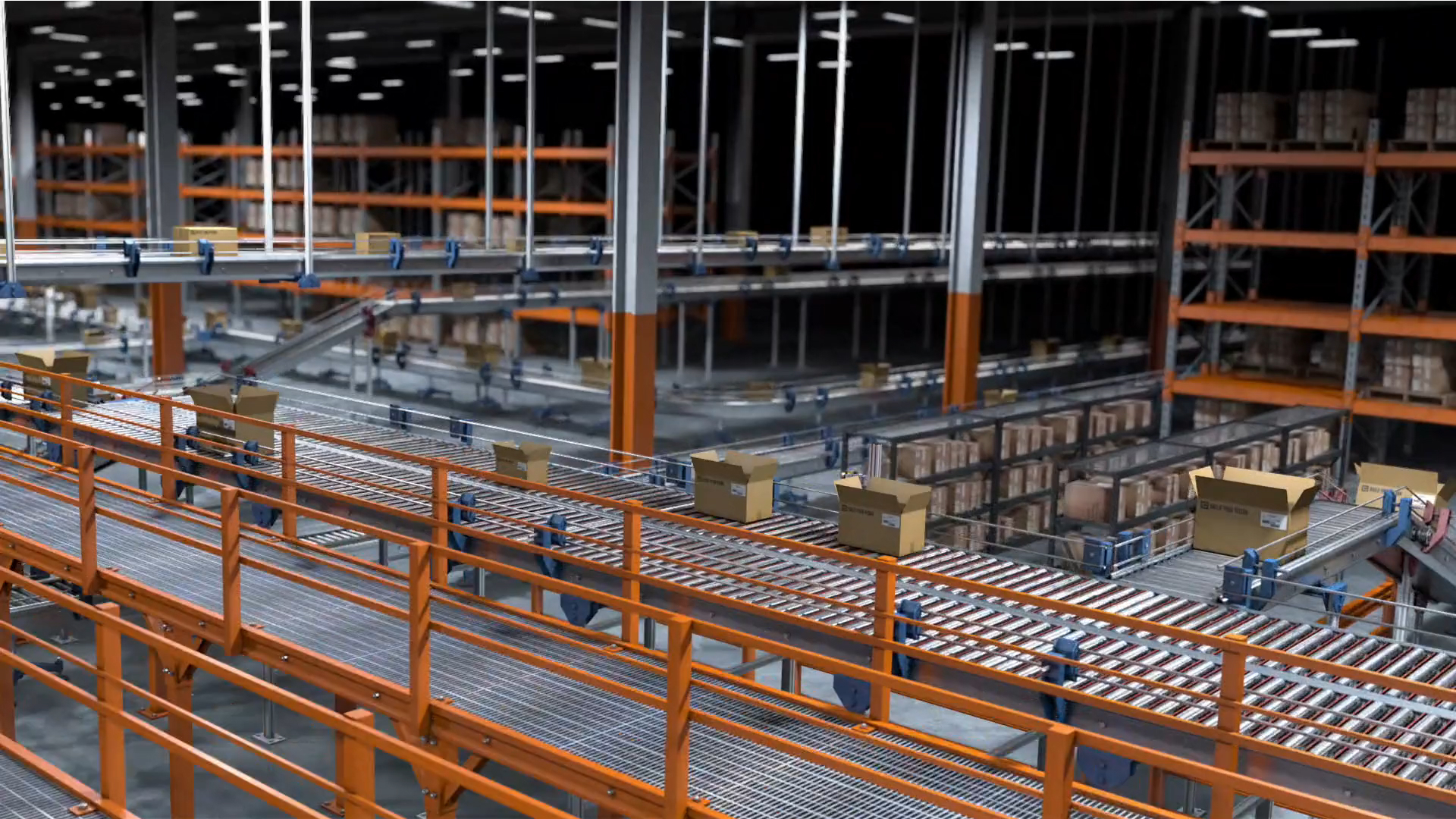 logistics warehouse with orange shelving and conveyors for moving packages