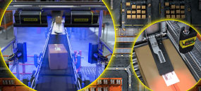 warehouse package shipments tracking labels with cognex barcode readers