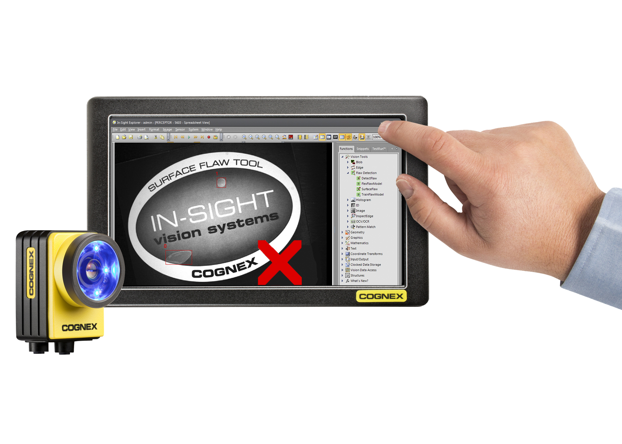 In-Sight software Explorer 4.9 on touchscreen