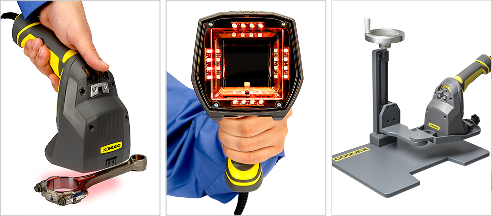 Three Cognex Barcode Verifier images two handheld and one mounted stand
