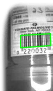 1d barcode on label up close