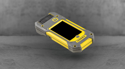 Cognex MX-1000 mobile terminal labeled parts over, phone, barcode reader, pistol grip