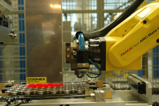 metal parts being inspected by cognex system