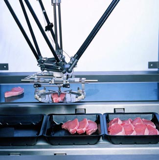 ABB vision guided Robotic PickMaster pock chop packaging