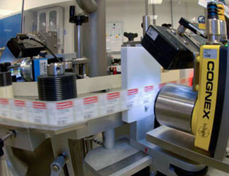 Cognex In-Sight vision system and VisionPro software high speed pharmaceutical label inspection