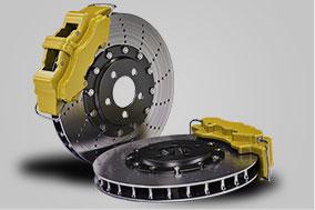 two Disc Brakes yellow brake pads