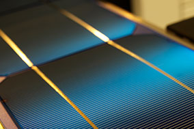 solar cell production on factory line up close
