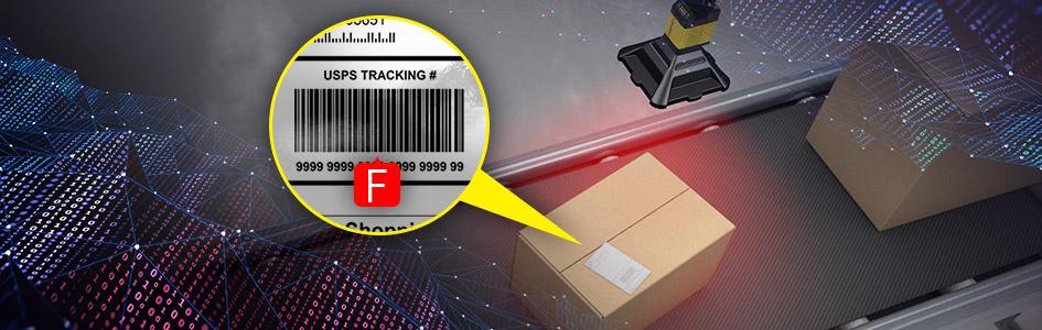 Inline barcode reader grades 1D barcode on box