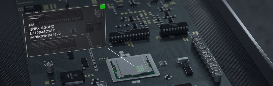 Close-up of a PCB with representation of OCR code reading