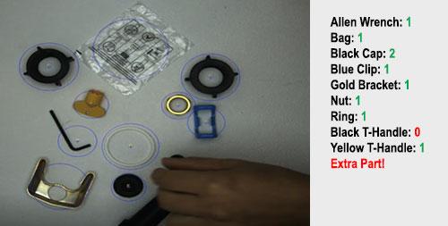Inspection de la mise en kit avec des produits similaires mais de couleur différente à compter