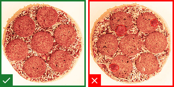 Finding unwanted foreign matter on a frozen pizza