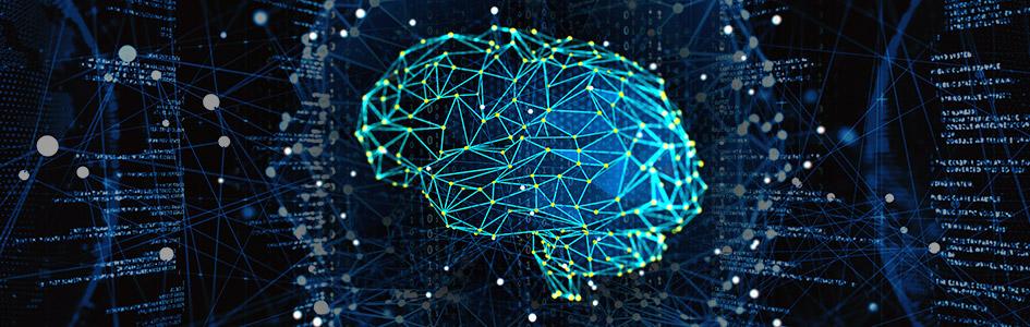 blue deep learning digital brain banner image