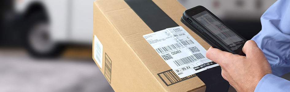 Using a mobile device to scan multiple barcodes on a box label