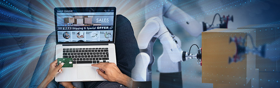 people shop online while robots fulfill their order