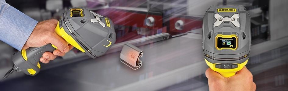 DataMan 8700DX handheld barcode reader reads metal part