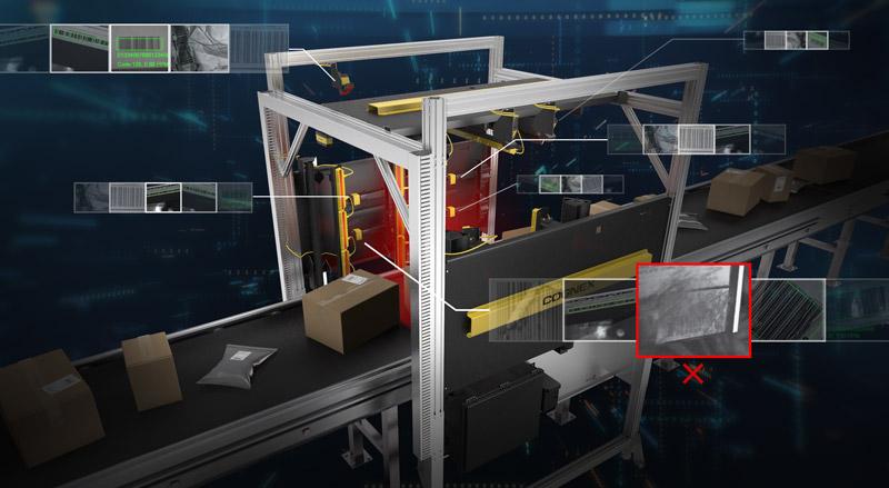 Industria 4.0 de logística: túnel con tira de imágenes