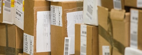 up close packages with shipping labels