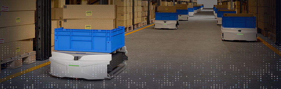 robots move packages in warehouse setting