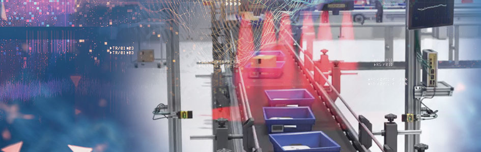 Logistics blue totes being scanned on conveyor belt banner