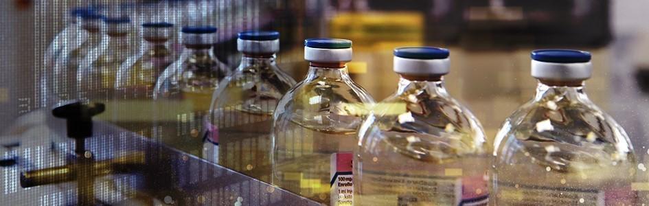 bottles moving on a conveyor belt