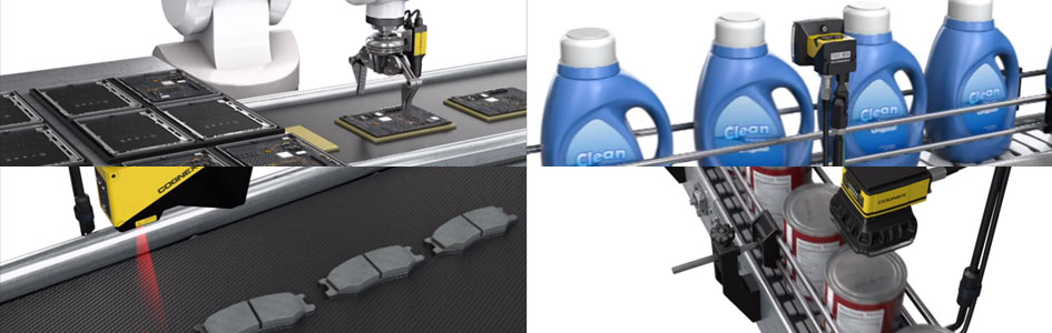 machine vision systems inspecting brake pads, detergent bottles, canned food, and guiding robot