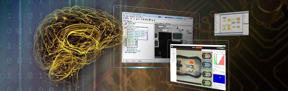 vision software GUIs floating behind a digital brain