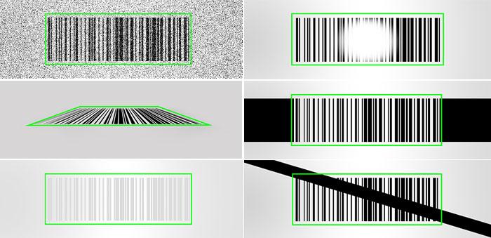 Hotbars algorithms read damaged 1D barcodes