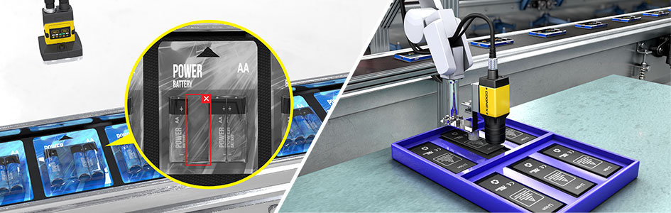 vision sensor performs presence/absence check on battery packaging while vision system directs robot arm