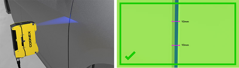 3D-L4000 camera performing gap and flush inspection on car door panel and software screenshot of inspection