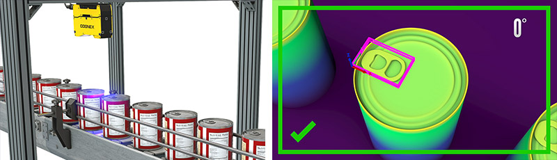 3D-L4000 camera scanning aluminum cans on conveyor belt and screenshots from inspection software
