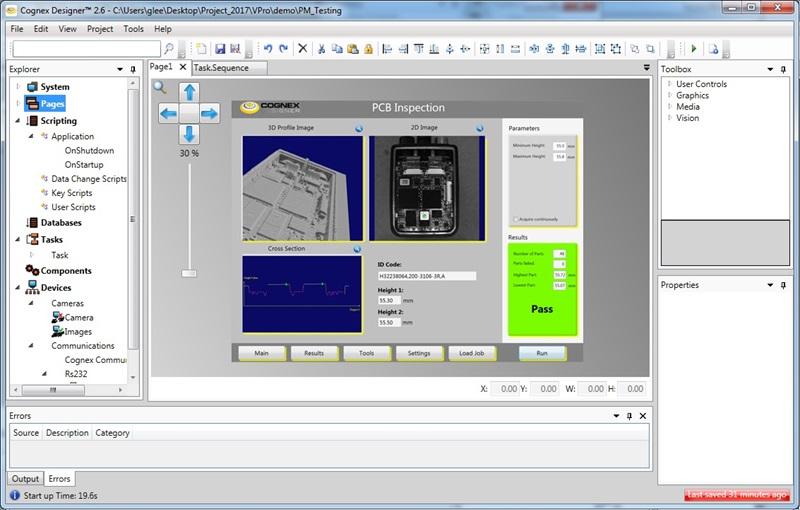 Cognex Designer software user interface