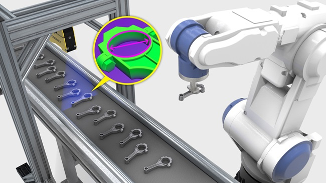 Conveyor belt with robot picking inspected casted metal parts