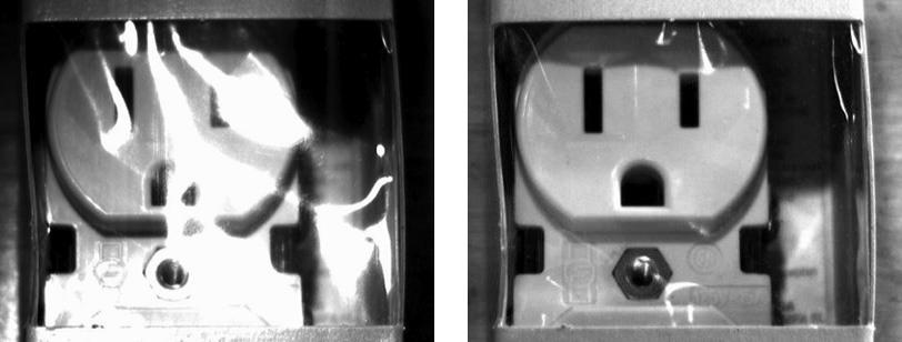 Polarized filters reduce glare for machine vision inspection of electrical outlet
