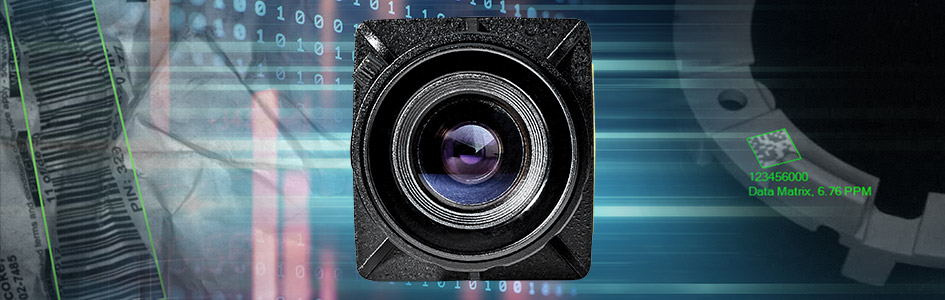 Machine vision camera lens on banner showing successfully read 1d and 2d codes