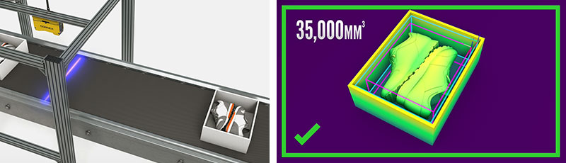 3D-L4000 camera scanning shoes boxes on conveyor belt and screenshot from inspection software
