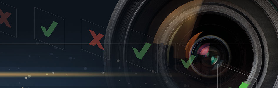 Vision Sensors Lens banner with check marks and x's