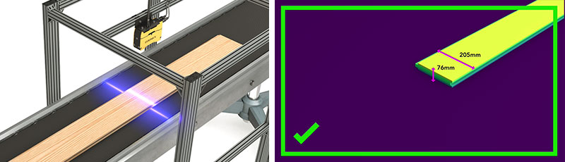 3D-L4000 camera scanning wood panels on conveyor belt and screenshot from inspection software