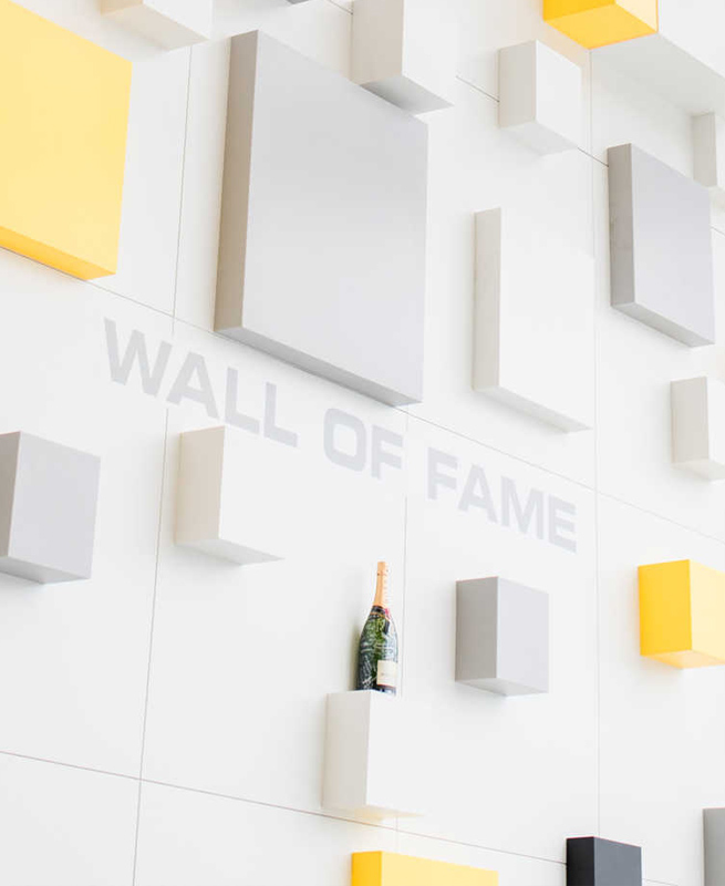 Cognex awards champagne on wall of fame