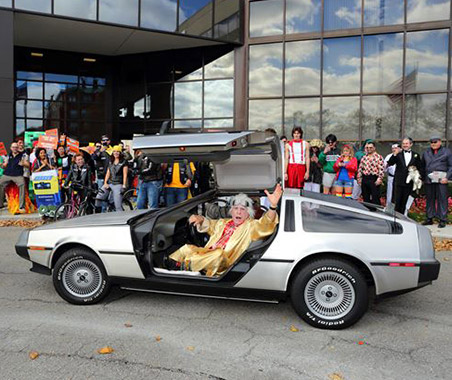 Dr Bob in DeLorean back to the future Halloween at Cognex