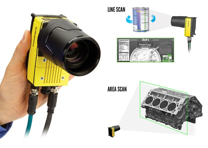 man holding IN-SIGHT 9902L wih line scan area scan examples