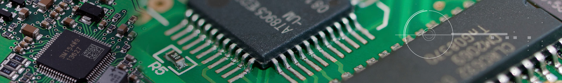 up close PCB components