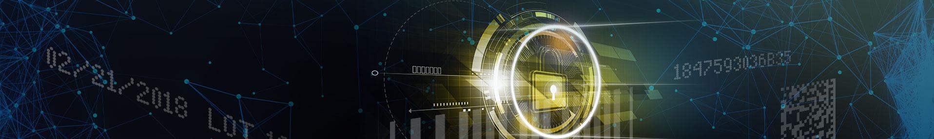 glowing digital security lock on data background