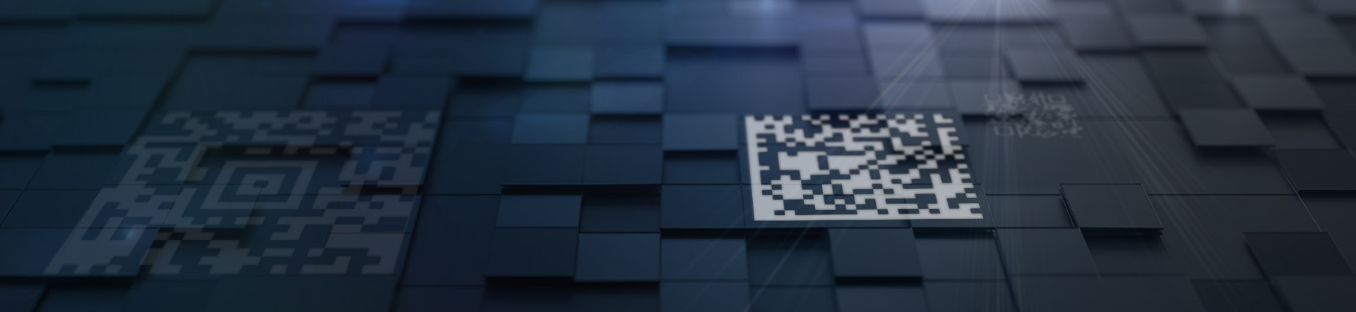 various 2d barcodes on raised square surface