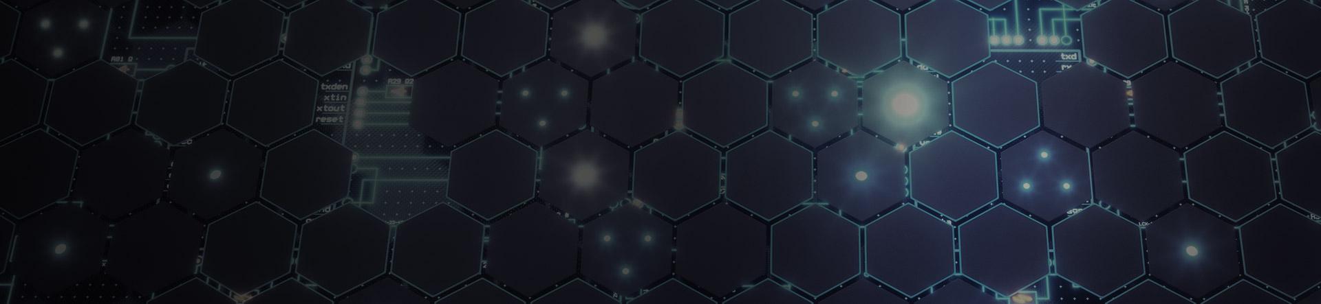 hexagon tiles over digital circuit board